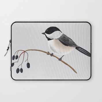Winter Chickadee Laptop Sleeve by 13sparrows