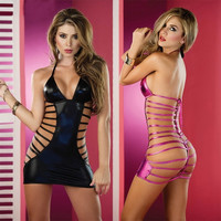 Bronzing Patent Leather Sexy Hollow Backless Leotard Strap Seductive Nightclub Pole Dancing Game Costume = 1932791492