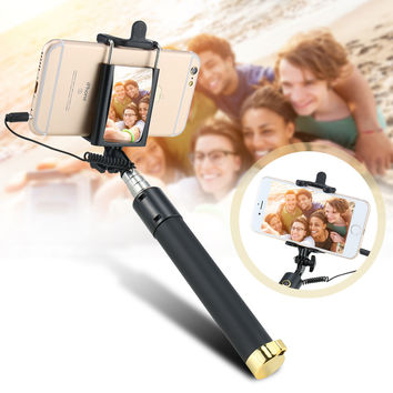 Wired Handheld Universal Selfie Stick Monopod Extendable Mini Portable Monopod with Mirror For iPhone For Samsung For Xiaomi