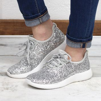 Sequin Glitter Sneakers {Silver}
