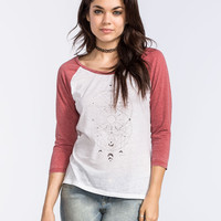 Full Tilt Celestial Womens Hi Low Baseball Tee White  In Sizes