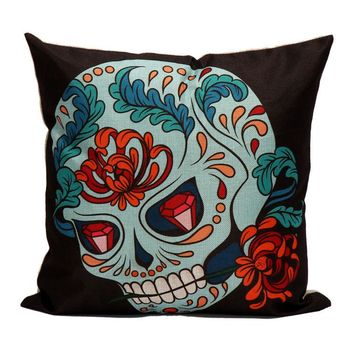 Skull Pillow Case Sofa Waist Throw Cushion Cover Home Decor