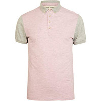 Pink and beige colour block polo shirt