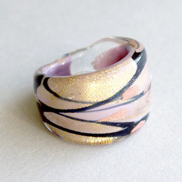 vintage MURANO glass statement RING sparkling pink liliac bronze golden authentic made in Italy US size 8