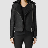 Womens Ashton Shearling Biker Jacket (Black) | ALLSAINTS.com