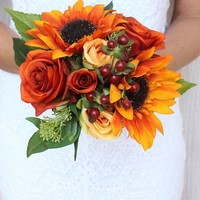 "Sunflower and Rose Silk Bouquet in Rust Orange12"" Tall"