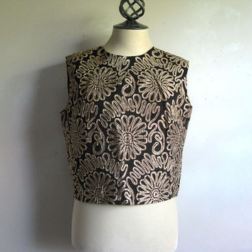 Vintage 1960s Shift Top Kay Silver Black Gold Floral Crop Blouse Medium
