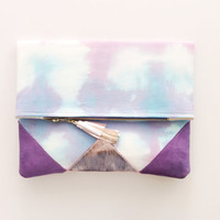 SUNSET 24 / Shibori dyed cotton & Natural leather folded clutch bag - Ready to Ship