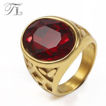 TL Antique Gold Ring for Men Vintage Jewelry Black Red Simulated Garnet Turkish Ring Male Statement Ethnic Rings Vintage Jewelry