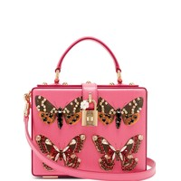 Crystal and butterfly-print leather box bag | Dolce & Gabbana | MATCHESFASHION.COM