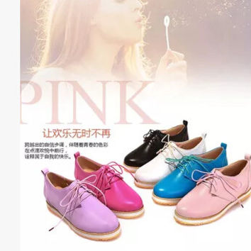 Women new fashion spring summer Candy color 4cm platform vintage thick heel lacing round toe shoes large plus size 40-43
