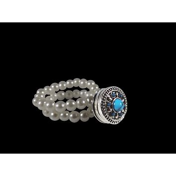 Stretch Ring Simulated Pearls Turquoise 12mm Mini Snap
