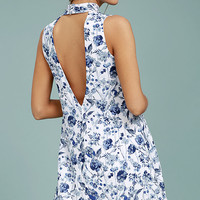 Less is Fleur Blue and White Floral Print Swing Dress