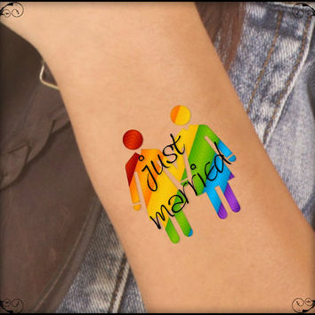Temporary Tattoo 2 LGBT Lesbian Just Married Waterproof Fake Tattoos