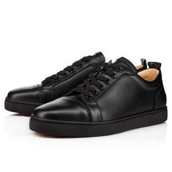 Best Online Sale Christian Louboutin Cl Louis Junior Men's Flat Black/black Leather Classic Shoes 1130548cm53