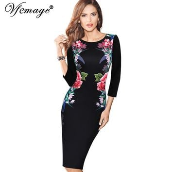 Vfemage Womens Elegant Vintage Floral Flower Printed Slimming Tunic Casual Party Pencil Sheath Bodycon Dress 4146