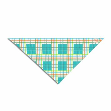 "afe images ""Modern Plaid Pattern"" Teal Green Illustration Pet Bandana"