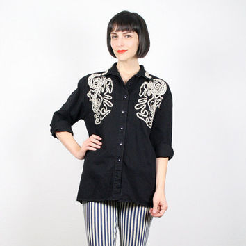 Vintage Black Shirt Black Gold White Embroidered Metallic Embroidery Blouse Button Up Button Down Shirt Top Military New Wave 80s L Large