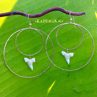 Hammered 14K Gold filled Shark tooth Double Hoop Earrings