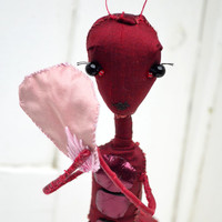 Ant girl textile sculpture, red ant person figure, hand sewn fabric art doll