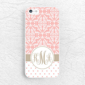 Damask lace Monogram polka dots phone case for iPhone, Sony z1 z2 z3, LG g3 g2, Moto X Moto G, HTC One m7 m8, personalized custom name case