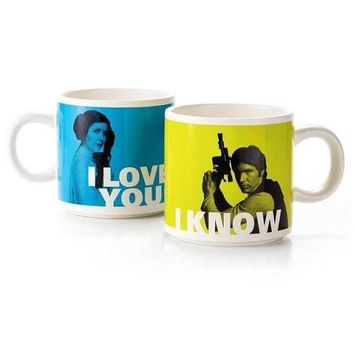 Han Solo and Princess Leia Stacking Mug Set