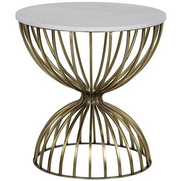 Grayling Side Table, Antique Brass, Metal and Quartz