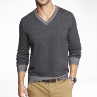 PLAITED COTTON V-NECK SWEATER