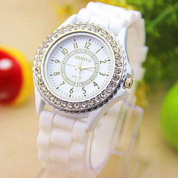 Sparkly Silky Silicone Watch in White