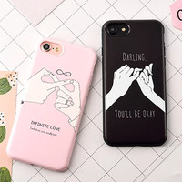 Fashion Funny Letter Case For iphone 7 Case For iphone7 7 PLus 6 6S Back Cover Cute Cartoon Smile Couples Phone Cases Capa Coque -0315