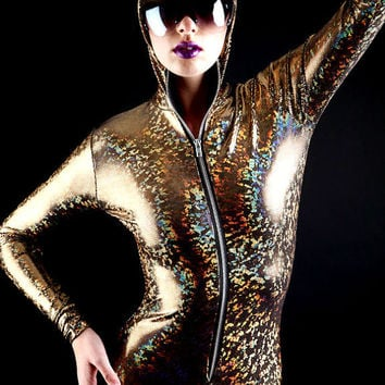 Mesmerizing Gold on black holographic Bodysuit, be the Goldfinger Chick, Immediate shipping