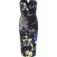 River Island Womens Purple floral print bandeau pencil dress