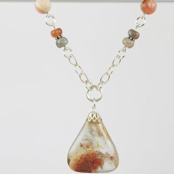 Pink Plume Agate Pendant Necklace on Beaded Strand of Pink Opal and Pink/Gray Botswana Agate Beads with Silver Rings