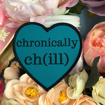 "Turquoise ""chronically ch(ill)"" Iron-On Heart Patch Teal Black Cripple Punk Chronic Illness Crohns EDS Lupus Rheumatoid Arthritis"