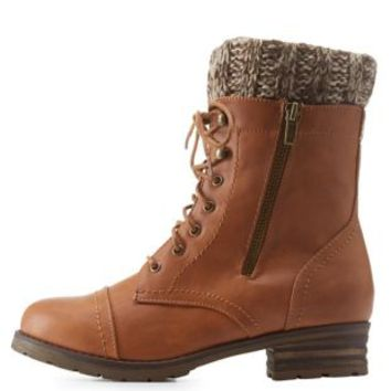 Brown Sweater-Cuffed Lace-Up Combat Booties by Charlotte Russe