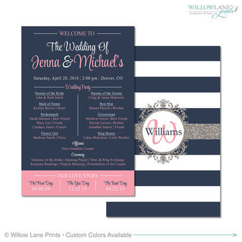 DIY Printable Wedding Program paper ideas card wedding party, pink navy wedding, digital file or printed