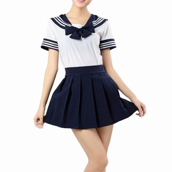 Japanese School Uniform Dress Cosplay Costume Anime Girl Lady Lolita