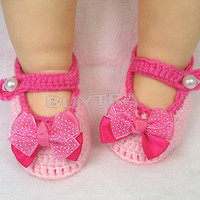 Beautiful Newborn Infant Girls Crochet Knit Sock Crib Shoes for 0-12 Month Baby
