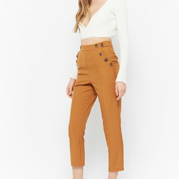 Button-Front Ankle Pants