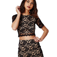 Black Short Sleeve Floral Lace Cropped Top