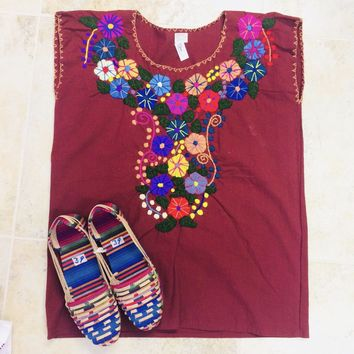 Mexican Embroidered Bouquet Blouse Maroon