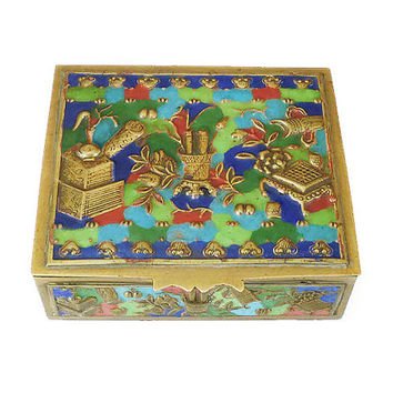 Chinese Enamel Box, Trinket Box, Confucius Scrolls, Made in China, Chinese Export, Brass Metal, Jewelry Storage, Art Deco Home Decor