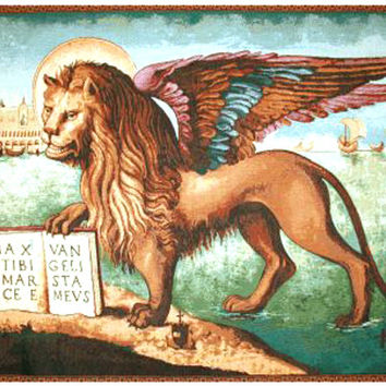 Lion Arrives in Venice Tapestry Wall Art Hanging