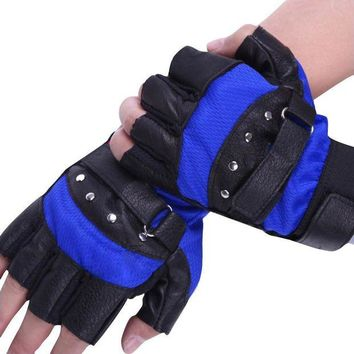 ONETOW 2017 New Arrival Gloves Men Soft Sheep Leather Driving Motorcycle Biker Fingerless Warm Gloves Blue Red Tactical Gloves