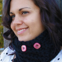 Crochet Short Scarf with Buttons Black with by SoLaynaInspirations