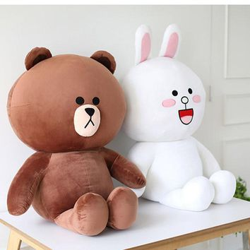 40cm 70cm Hot Sale Cute Brown Bear Plush Toy White Rabbit Stuffed Soft Doll Friend Plush Toy Kids Toy Gift For Girlfriend