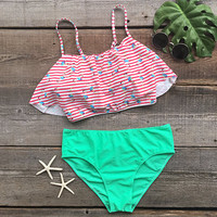 Cupshe Seaside Gale Falbala Bikini Set