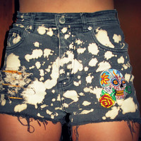 Upcyled Black Splattered Bleached Denim Shorts by RomaniRose