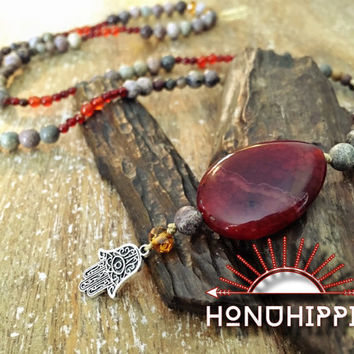 Long mala necklace, boho hippie jewelry, hamsa hand pendant