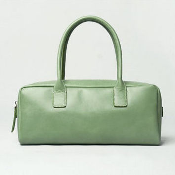 Leather  Retro Tote Shoulder Bag Light Mint  Green NEW
